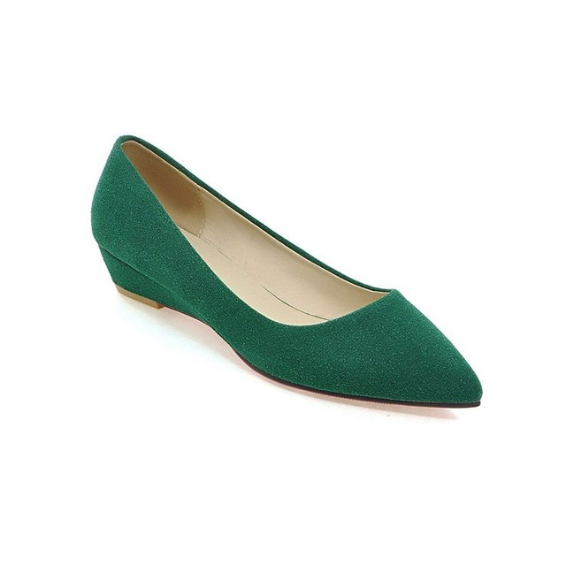 Ladies wedges Low heels Ladies casual Shoes Zapatos Pointed Toe Low Cutter Nubuck Super Plus Size 47 34 44 Green Red Black Beige