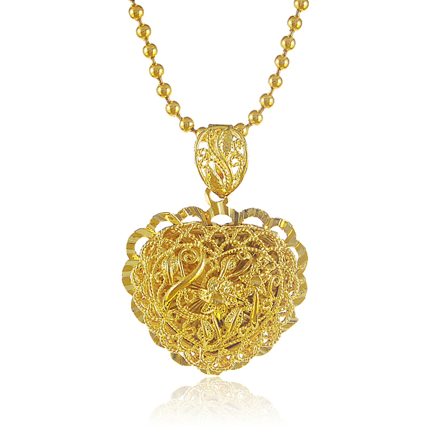 Fantasticing design 24k gold pendant necklace combine flower and fantasticing design 24k gold pendant necklace combine flower and heart together beads necklace for women mozeypictures Gallery