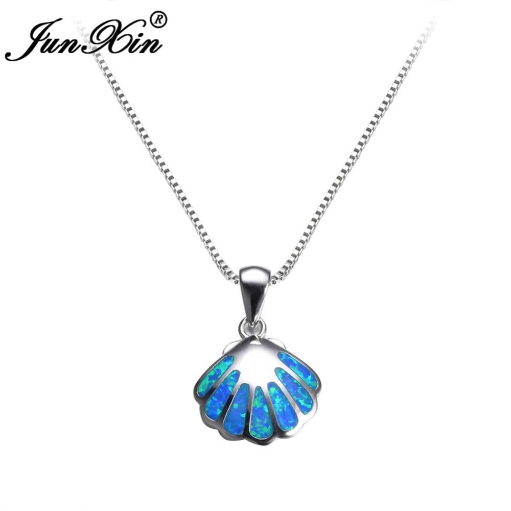 JUNXIN Dainty Blue Fire Opal Pendant Shell Design Necklace