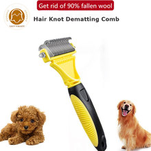 Professional Pet Dog Cat Fur Dematting Grooming Comb Rake Deshedding Trimmer Tool Double Side Dog Comb Brush Pet Solutions Knot double side pet fur dog brush comb rake hair brush cat grooming deshedding trimmer tool dog comb pet brush rake 12 23 blades