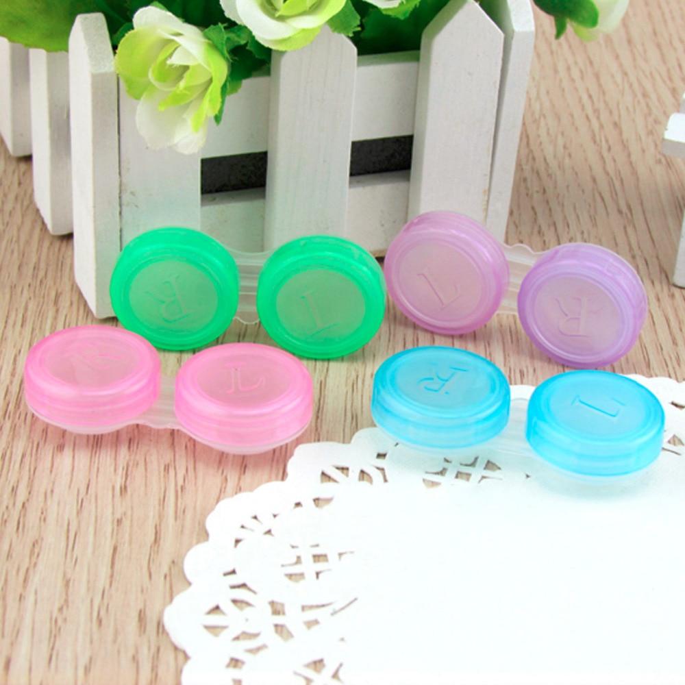 Portable Small Lovely Candy Color Contact Lenses Soak Storage Case Random