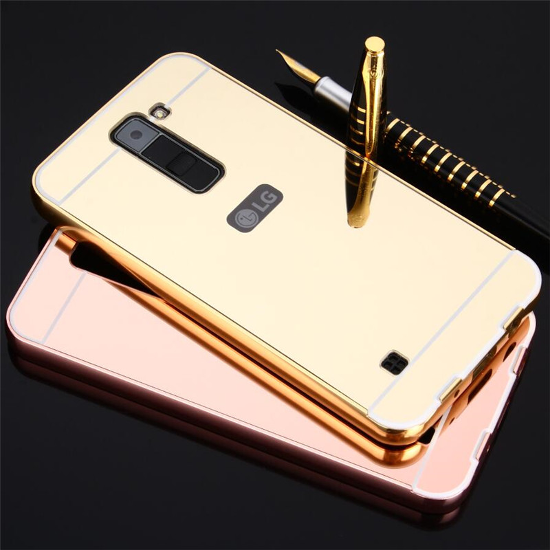 lg k10 gold case. aliexpress.com : buy uvr for lg k10 case phone cases luxury mirror hybrid armor hard metal aluminum frame k8 cover k7 k 7 8 10 from reliable lg gold e