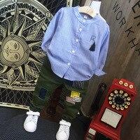 2PCS Kids Boys Fashion Autumn Clothing Set Baby Turn Down Collar Long Sleeve Striped Shirt And