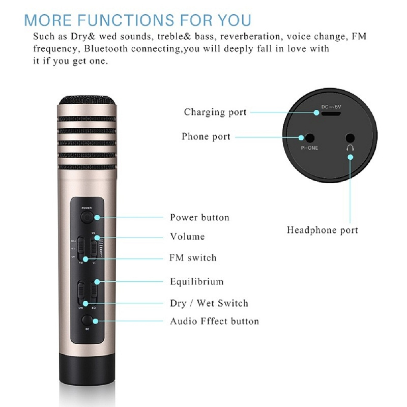 US $72 67 |FORNORM Karaoke Microphone Wireless Microphone Bluetooth Speaker  Stand Portable Handheld Microphone For Car Smartphone Speaker-in
