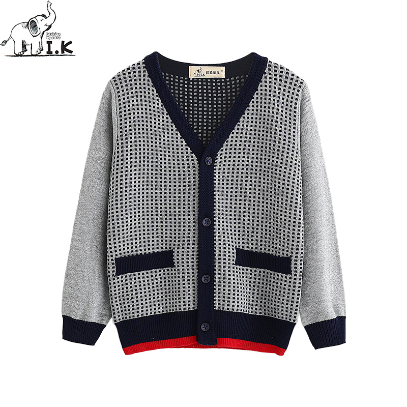 I.K boys sweater baby kids knitwear cardigan Jacquard knitting sweater long sleeve top child cloth England Preppy Style MO26010