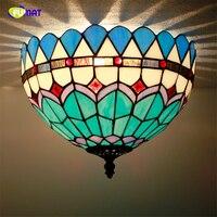 FUMAT טיפאני מנורות תקרה אירופאית האמריקאים הפסטורליים סלון אורות תקרת מסעדה של זכוכית צבעונית תאורה לחדר המיטה
