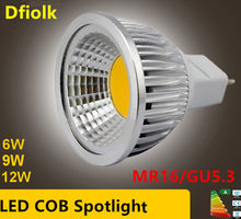 Lâmpada led de alta potência, holofote regulável mr16 gu5.3 cob 6w 9w 12w quente e fria lâmpada gu branca mr 16 12v 5.3 220v