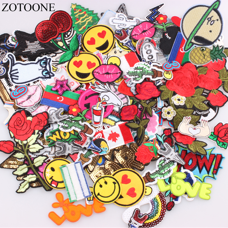 ZOTOONE Mixed Random Patch Badges For Clothing Iron On Embroidered Applique Sew on Sewing Accessories Clothes B