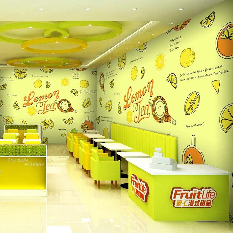 Free Shipping 3D fresh fruit juice drinks shop coffee house wallpaper dessert shop tea fruit shop background wall 5pcs cute long handle plastic coffee milky tea juice stirrer