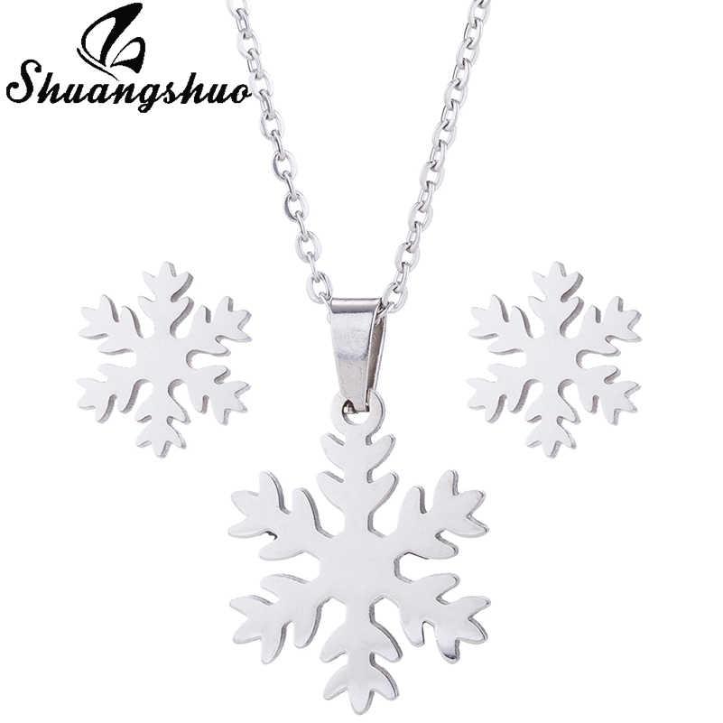 Shuangshuo Nova Chocker Pingente De Floco De Neve Snow Flower Brincos para Mulheres Presentes de Natal Sorte Jóias para Amantes Meninas