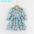 Humor Bear Baby Autumn Cartoon Casual Style flowers Bird Girls Dress Kids Clothes Girls Clothes Children Dress Princess