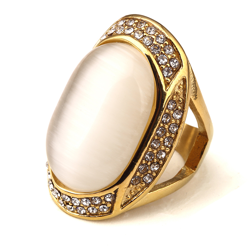 NYUK Big Gem With Rhinestone Gold Bling Crystal Ring Men Gift Hip