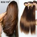 """Medium Brown Brasileño Extensiones de Cabello 3 Unidades Brasileño Straight Hair Weaving Trama Del Pelo Humano Del Color 4 # Marrón Chocolate 12 """"-24"""""""