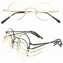 60s Vintage 37mm small Round Eyeglass Frames Spring Hinges myopia Rx able Glasses Spectacles come with clear lenses