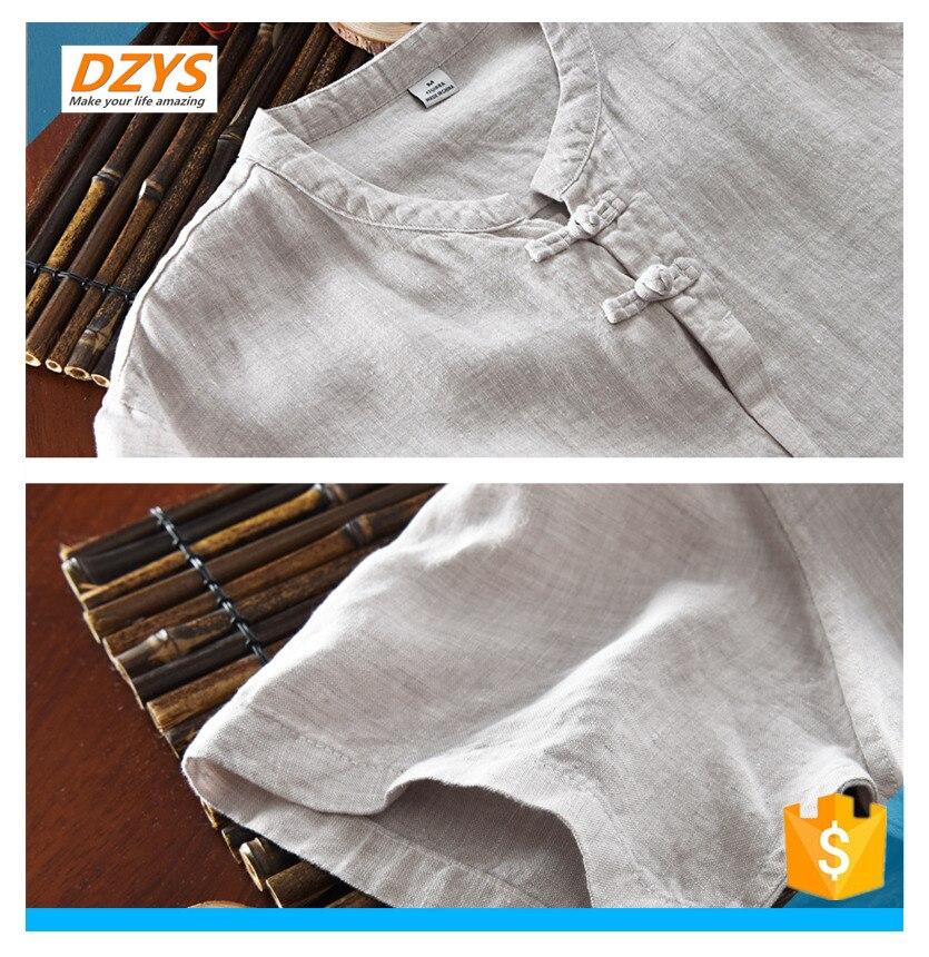 DZYS JF estilo chino de algodón y lino de los hombres de manga corta de lino de manga corta Camisa de gran tamaño Lino verano Suelto camiseta - 5