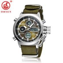 Ohsen мужчины часы водонепроницаемые спортивные часы военные кварцевые мужские часы led цифровые часы relojes hombre