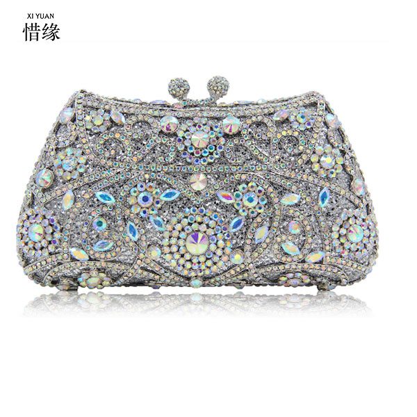 XIYUAN BRAND Luxury Fashion Women Crystal Evening Bag Party Handbags Ladies Wedding Bridal Clutch Bag gold/silver/black/champagn