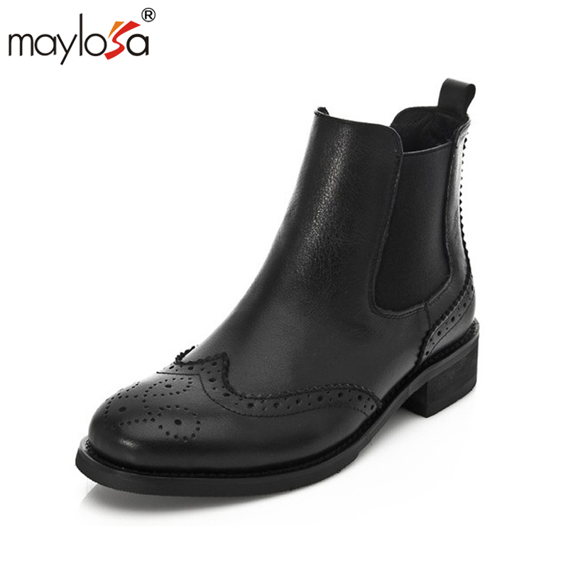 MAYLOSA Women spring Shoes Genuine Leather Natural Wool Boots Brand Women Shoes High Quality Mid Calf Boots With Platform