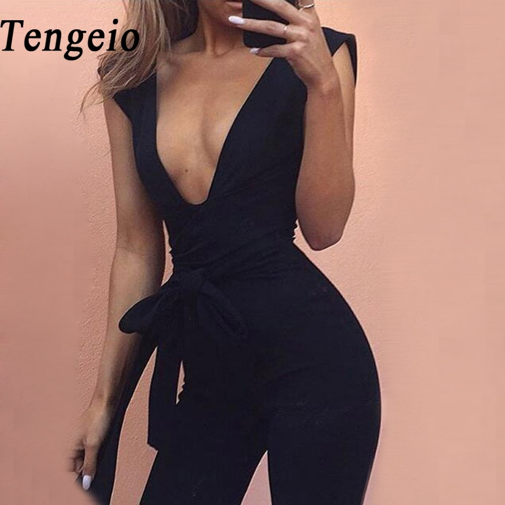 Tengeio Bodysuit Body Suits For Women Summer Jumpsuits Body Femme Deep V Neck Sexy Club Outfits Long Jumpsuit With Belt 20