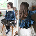 Children clothes Girls Jackets 2015 Autumn and Spring Girls pearl zipper denim jackets Kids Cowboy Jacket for 2-8 years old