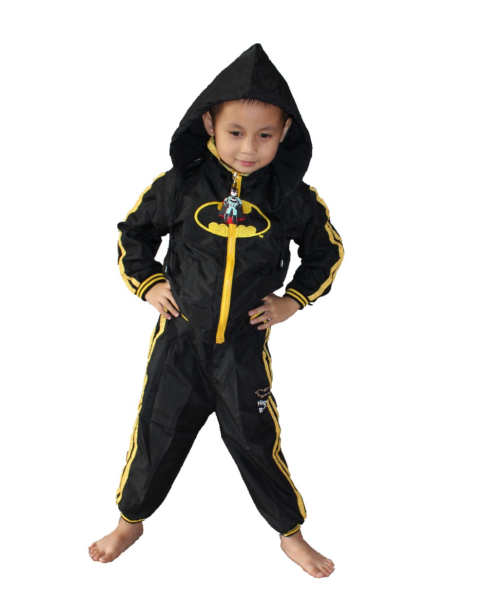 3-7 years boy's 2 suit Outerwear,kid dust coat,boy Coats,baby  batman Role play Rainwear ZG:S-XXL