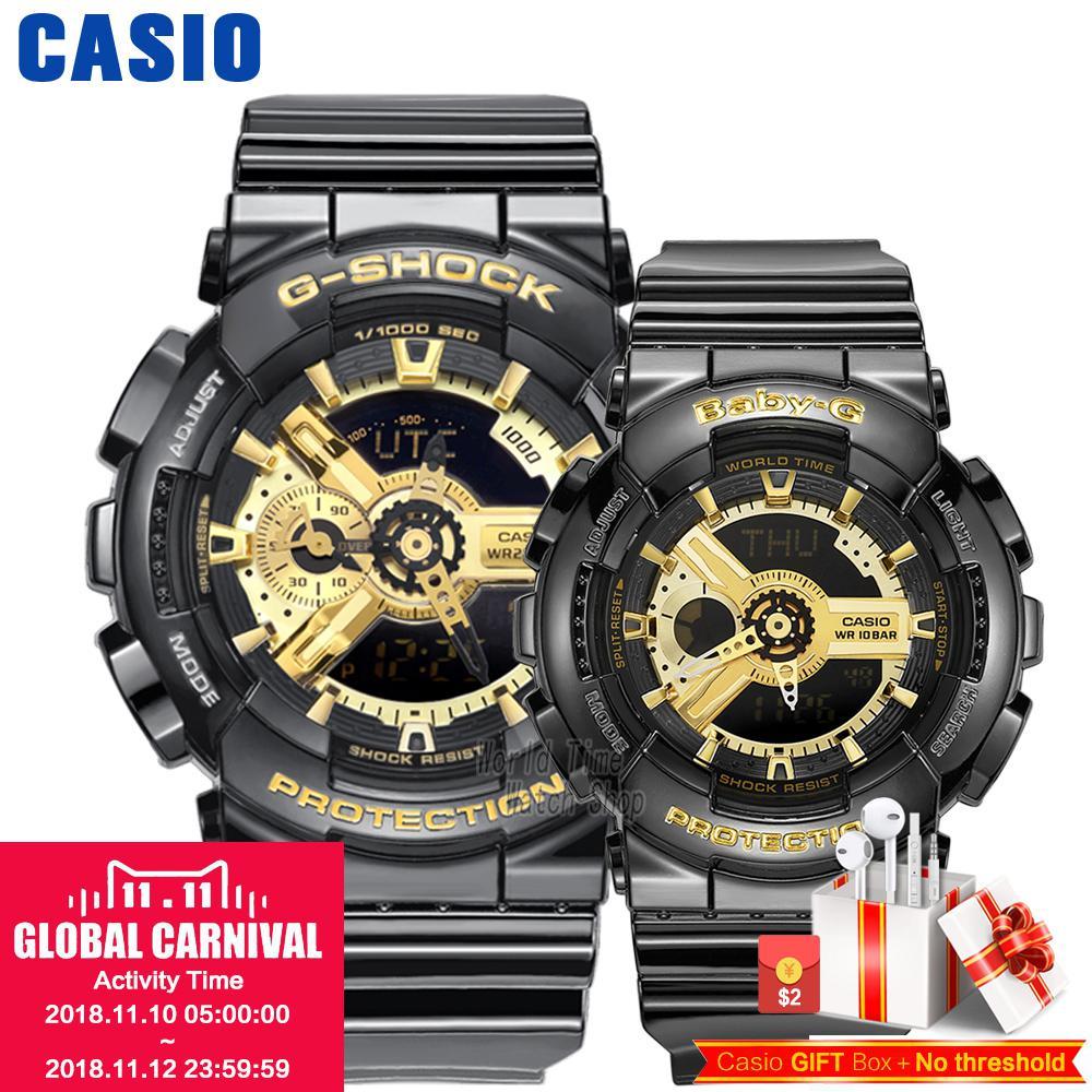Casio watch Couple watches men and women fashion sports watch waterproof electronic form GA-110GB-1A BA-110-1A casio ba 110ga 1a