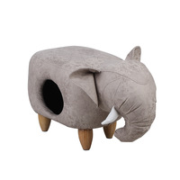 Pet kennel cat warm enclosed indoor house villa solid wood pedal PU leather stool nest dual purpose cat beds pet mat