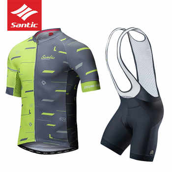 2018 Santic Summer Cycling Clothing Set Jersey Clothes Cycling Bib Shorts Men MTB Bike Jersey Pro Team Maillot Downhill Bycicle