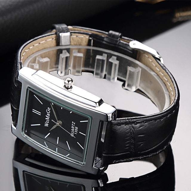 Black Square  Luxury Leather Band Quartz  Vintage watch 1