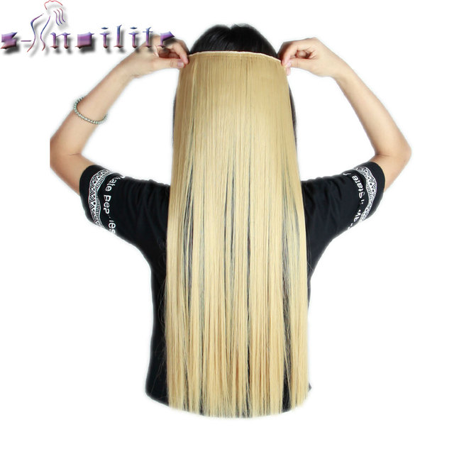 S-noilite 24-30 inches Women Straight Clip In Hair Extensions One Piece 3/4 Full Head Long Hair Extension Synthetic Hairpieces