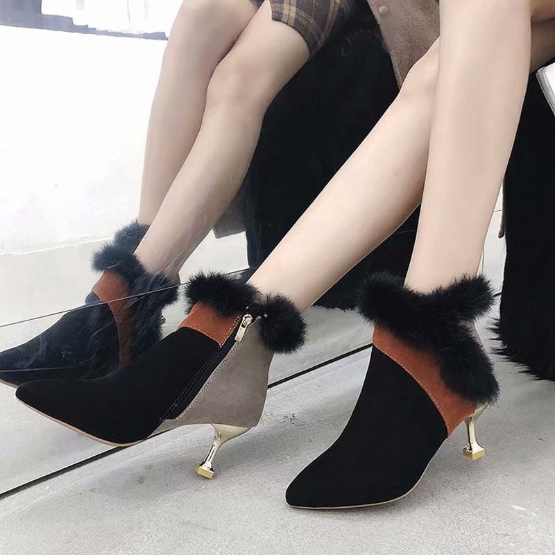 faux fur decoration ankle boots women gold high heeled plush winter booties mixed color suede leather peluche botas mujer s456 30