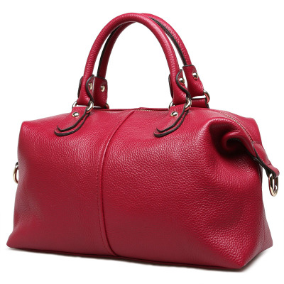 2018 novelty genuine leather boston bag for women spring pink blue cowhide tote handbag female casual large capacity shoulder ba