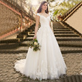 Vestido De Noiva Lace Elegant A-line Sweetheart Appliqued Organza Bridal Wedding Dress 2016