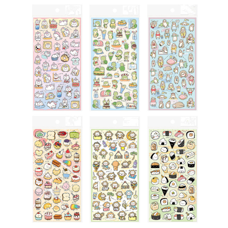 Cute Unicorn Monkey Dessert Sushi Series Sticker Decoration PVC Scrapbooking Stationery Planner Stickers