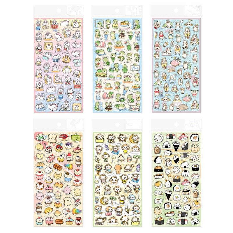 Cute Unicorn Monkey Dessert Sushi Series Sticker Decoration PVC Scrapbooking Stationery Planner Stickers