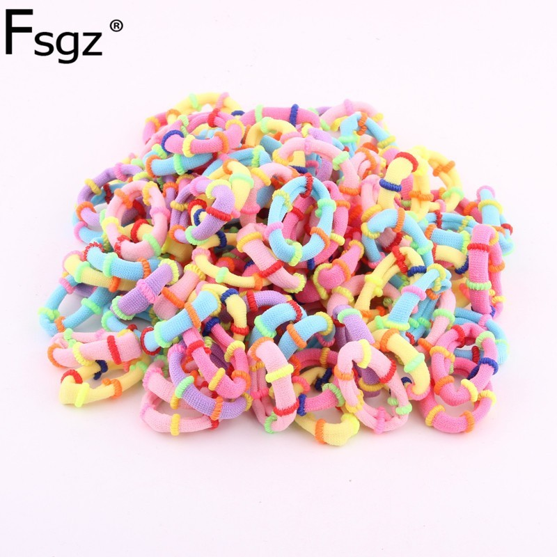 Hair Ties For Baby Candy Color Elastic Hair Bands Hair Style Braid  Girls Hair Towel Gums Soft Hair Loops Wholesale 100pcs /lot
