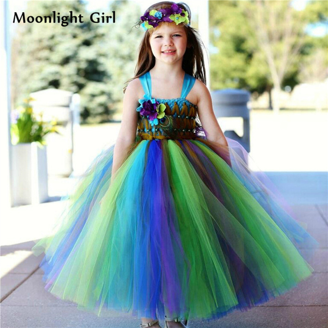 1108919c6 New Handmade Princess Girls Peacock Dress Peacock Costume Formal Ball Gown  Wedding Dress Feather Flowers Girl Tutu Dress PQ077