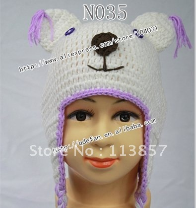 925552b656f 100% cotton crochet bear hat in white knit beanie hat pattern baby products  wholesale make