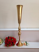 Top selling gold iron Wedding flower stand Centerpiece Vase