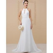 792e7a5d7ee LAN TING BRIDE Sheath Column Wedding Dress Jewel Neck Floor Length Chiffon  Bridal Gown with Beading