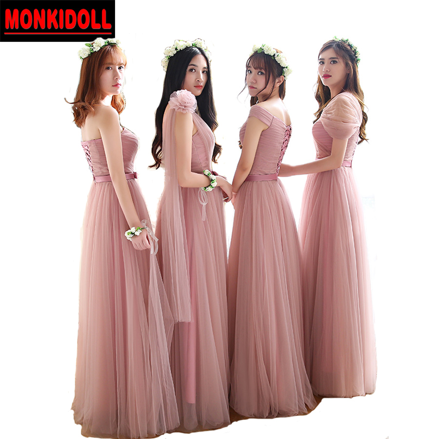 High Quality Dusty Pink Bridesmaid Dresses Long Tulle Bridesmaid ...