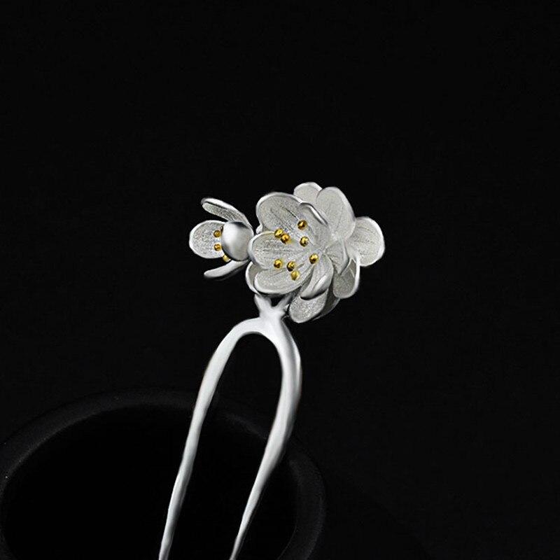 925 en argent Sterling épingle à cheveux faux fleurs chinois à la main bijoux ethniques épingles à cheveux boîte cadeau femmes bâton de cheveux