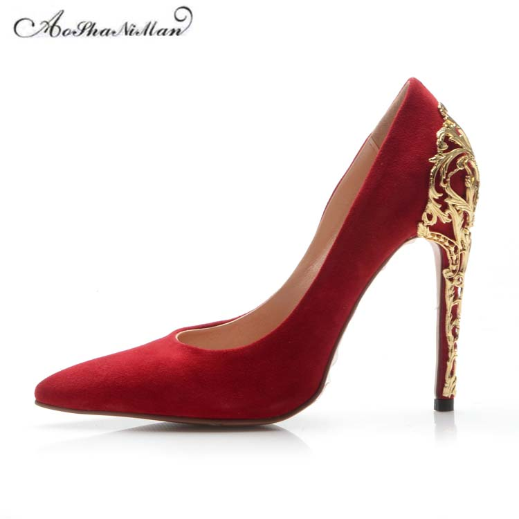 Здесь продается  2018 Spring newest Wedding bride Red Shoes women metal thin heel pointed toe  stilettos suede leather Top quality party shoes  Обувь