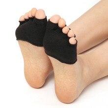 Half Foot Socks Finger Skid Peep Toe High Heel Half Open Anti Slip Pilates Ankle Five Socks 2 Pair medline curad elastic open heel ankle supports retail medium 2 case