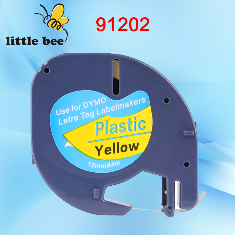 10pcs DYMO 91202 dymo LetraTAG 91202 Yellow plastic label DYMO LT91202 label 12MM*4M BLACK ON Yellow LABEL TAPE