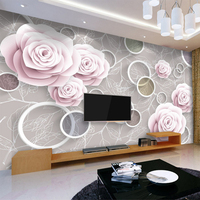 Custom Mural Wallpaper 3D Stereoscopic Circle Romantic Rose Flower Pattern Living Room TV Backdrop Wall Painting