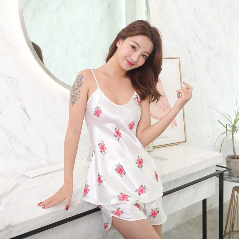 Sexy Floral Print V-neck   Pajamas     Sets   Women Lace Silk Satin   Pajamas     Sets   Sleepwear