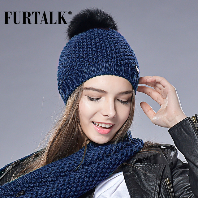 e384bb41f92bbd FURTALK Woman Knit Beanie Hat Caps Real Fox Fur Pom Pom Hat Women Fur hat  Autumn Winter Wool Hats for Women
