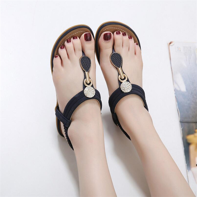HTB1MibEmTnI8KJjSszbq6z4KFXaA TIMETANG Summer New Bohemia Wedge Women Sandals Rhinestone Woman Flip Flops Vintage Women Shoes Beach