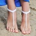 Белый Крючком Босиком Сандалии, невесты аксессуары, ню обувь, ноги ювелирные изделия, свадебные сандалии, пляжная обувь, кружева, Yoga, ножной браслет